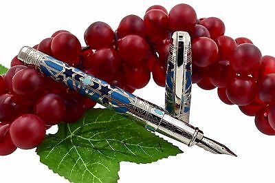 NEW + BOX ST Dupont Limited Edition 2500 Andalusia Light Blue Fountain Pen M Nib