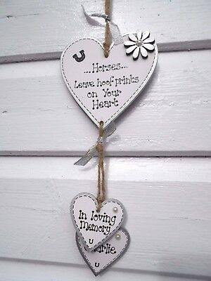 New Personalised pet'Horses leave hoof prints' memorial gift plaque heart sign
