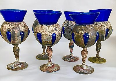 6  Vintage Mexican Brass and Cobalt Glass Goblets