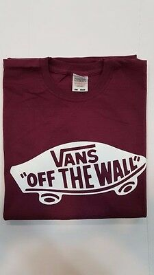 T-Shirt Maglietta Vans Of The Wall Bordeaux - Bianca - Nera - Uomo - Donna