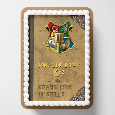 Harry Potter Book PERSONALISED MESSAGE EDIBLE Icing Cake TOPPERS Rectangle
