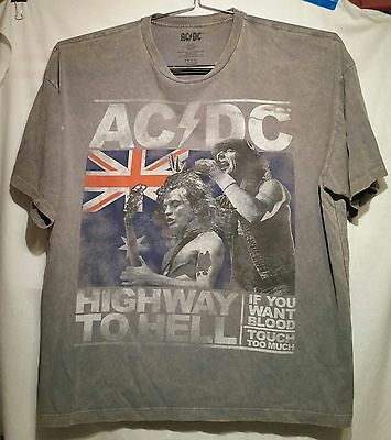 Ac/dc Highway To Hell T-Shirt Men's 2Xl Vintage Wash Grey Granite