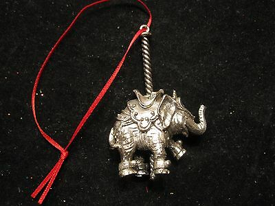TOWLE Silver Carousel Elephant Christmas Ornament TRUNK UP