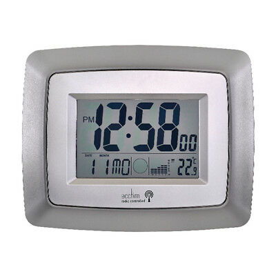 Acctim Lancia Silver/White Radio Controlled Digital Clock 74467