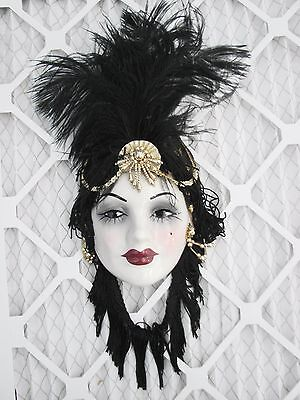 UNIQUE CREATIONS Lady Face Mask Hanging Wall Decor Feathers Signed gold beads