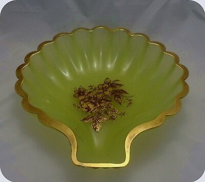 "10"" Inch Antique French Chartreuse Opaline Vaseline Crystal Glass Shell Bowl"