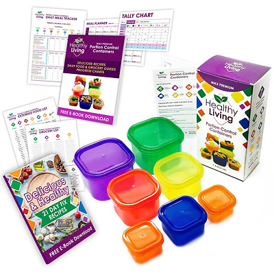 Healthy Living 7 Piece Portion Control Containers Kit with COMPLETE GUIDE, Multi
