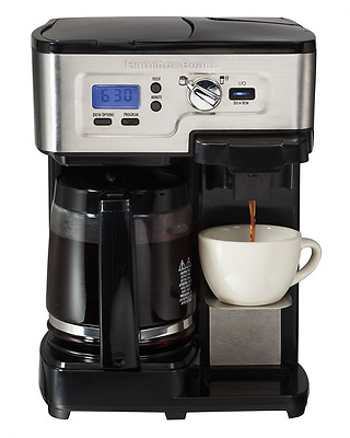 Hamilton Beach 49983C 12-Cup Deluxe 2-Way Programmable Coffeemaker, Black and St