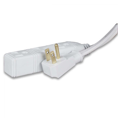 Globe Electric 24202 6.5-Feet 3 Outlets Indoor Extension Cord, White