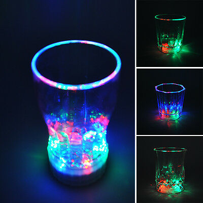 New LED Flash Light Glass Cup Beer Whisky Shot Drink Bar Party Wedding Club