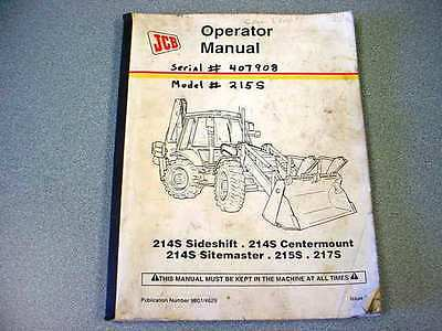 JCB 214S Tractor Loader Backhoe Operator Manual