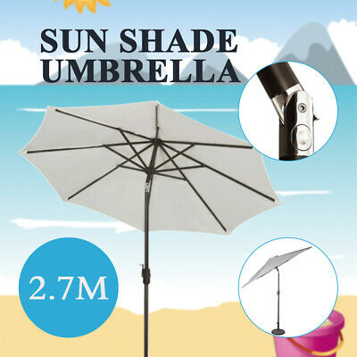 New 2.7m Outdoor Patio Garden Sun Shade Umbrella Adjustable Folding Umbrella