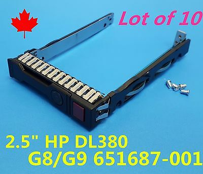 "Lot 10: NEW HP DL380P G8 G9 2.5"" HDD Tray Caddy 651687-001 651699-001 w/ Screws"