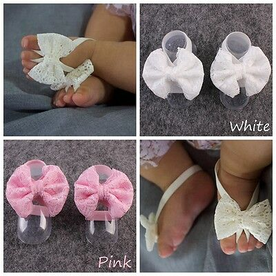 New Baby Girls Lace Bow Tie Barefoot Newborn Headband Shones Flower Foot Band