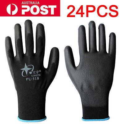 24PCS Antistatic Nylon Gloves Work Safety Working Mechanic Gloves Garden Builder