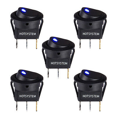 5PCS  Blue LED Light 12V Car Boat Round Rocker ON/OFF Toggle Switch HOTSYSTEM AU