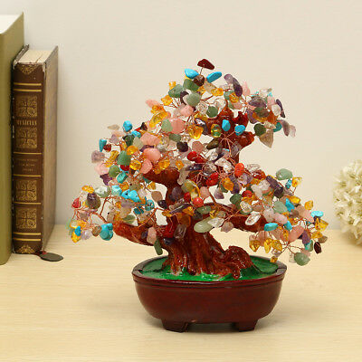 240mm Chinese Feng Shui Natural Colourful Crystal Money wealth Lucky Luck Tree
