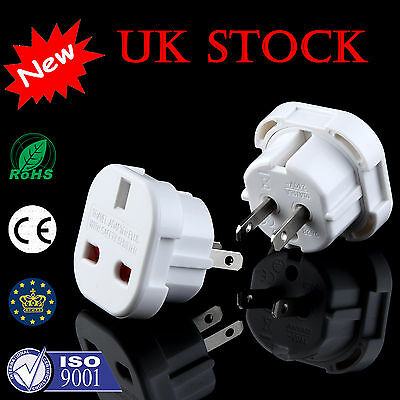UK Travel Plug 3-Pin To US Plug 2-Pin Socket Converter Adapter UK Stock