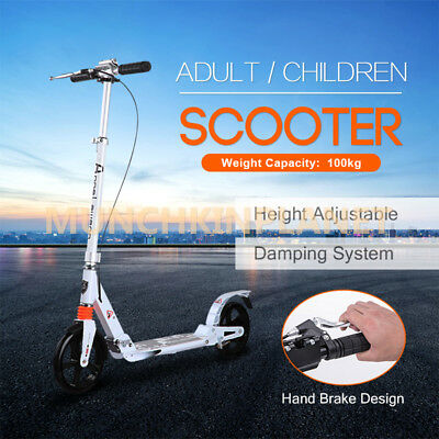 Hotsale Hand Break Design 200mm Big Wheel Push Scooter Adult Child Commuter Gift
