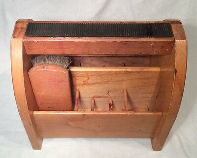 Nice, Old, Wooden, Open Style Shoe Shine Box With Vintage Brush, 10 Pockets