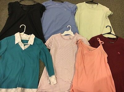 Lot of 7 Maternity Shirts Size Medium, Large And XL GUC