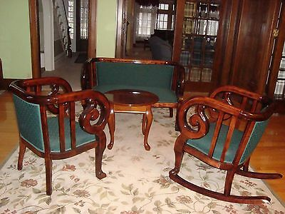 3 piece 1880s  Mahogany Empire-style Parlor - Settee, rocker, chair