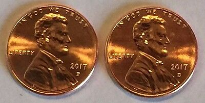 D & P 2017 Lincoln Shield Pennies,Taken from Mint Rolls Uncirculated BU