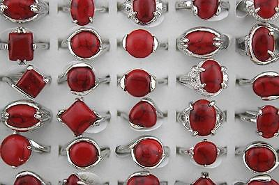 10pcs Red turquois stone Sliver-plated ring Wholesale Jewelry Women Mixed New