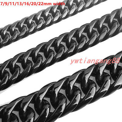 Stainless Steel Mens 7/9/11/13/16/20/22mm Black Cuban Curb Link Chain Necklace
