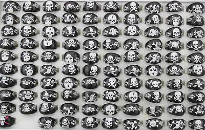 Wholesale lots Jewelry 20Pcs Resin Lucite Skull Child Black Rings FREE