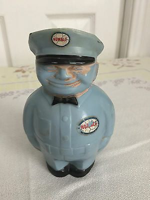 """Vintage 5"""" Hard Plastic HUMBLE Oil Gas Station Attendant Coin Bank from 1950s"""