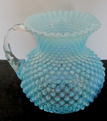 "Fenton Blue Hobnail Opalescent Lrg 8""t X 7 1/2""d Ruffled Edge Water Pitcher"