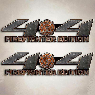 4x4 Off Road FIREFIGHTER EMT Axe Fire Truck Decal CHEVY DODGE FORD x2