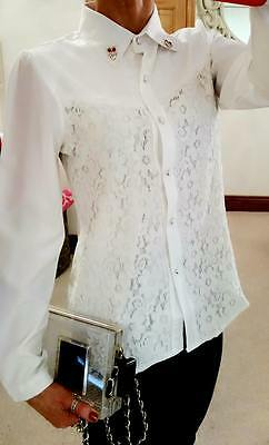 Designer Ivory White Ladies Boutique Lace Office Evening Blouse Shirt Top 10 12
