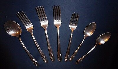 """Holmes & Edwards INLAID IS Silver Plated """"Romance Pattern"""" Lot 4 Forks 3 Spoon"""