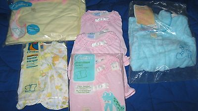 Vintage 1980's Carters Baby Layette Sacque Tops-Sleeper Crib Sheet New And Unuse