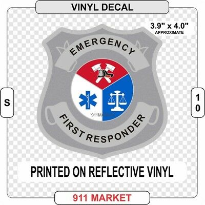 Emergency First Responder Badge Sticker Decal Fire Department Reflective -  S 10