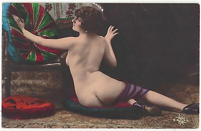 1920 Hand Painted French NUDE Photograph - High Heels and Round Derriere