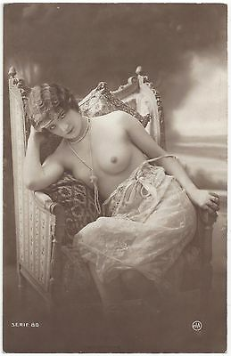 1920 French NUDE Photograph Blonde Flapper, Lacey Slip, Pearls, Provocative Eyes