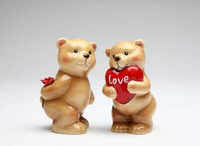 Lover Bear Couple with Heart Gift and Rose Salt and Pepper Shakers