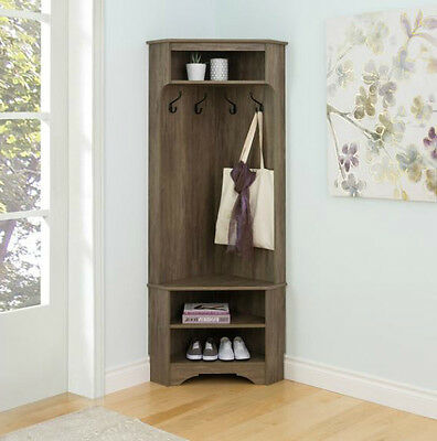 Corner Coat Rack Hall Tree Mudroom Entry Way Storage Bench Shelves Shoe Hat  Hook