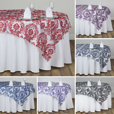 """10 pcs FLOCKING TABLE OVERLAYS 90x90"""" Wedding Party Catering Discounted Linens"""