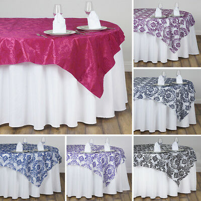 """20 pcs FLOCKING TABLE OVERLAYS 90x90"""" Wedding Party Catering Wholesale Linens"""