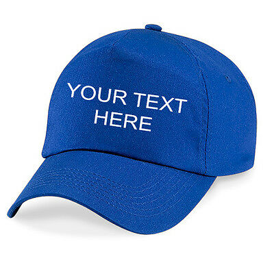 Personalised Embroidered Baseball Cap Custom Printed Hat Unisex Royal Blue