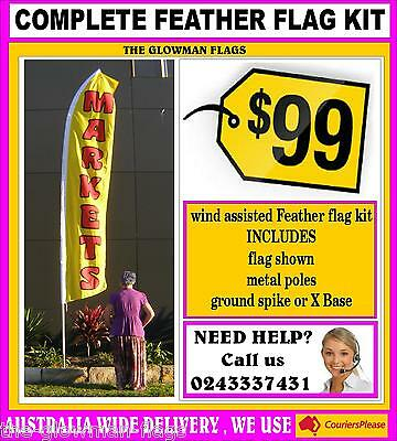 Markets flag pole kit wind assisted feather flag banner sign + spike + poles