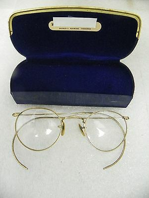 Vintage Wire Rimmed Eye Glasses Shuron HiBo 1/10 12K GF with Case