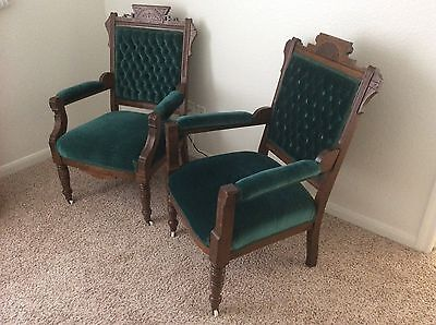 Gorgeous Pair Vintage Victorian Green Forest Velvet Tufted Accent CHAIRS