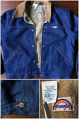 70s Gorgeous Indigo Wrangler 50/50 Buckle-Back Sherpa Jean Jacket Youth Sz 20/XL