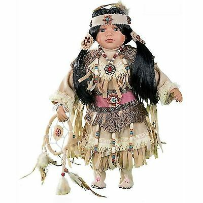 """Cherish Crafts Ayasia 16"""" Porcelain Native American Girl Collectors Doll, Outfit"""