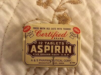 Vintage A & S Pharmaceutical CERTIFIED Brand 12 Tablet Aspirin Tin, empty